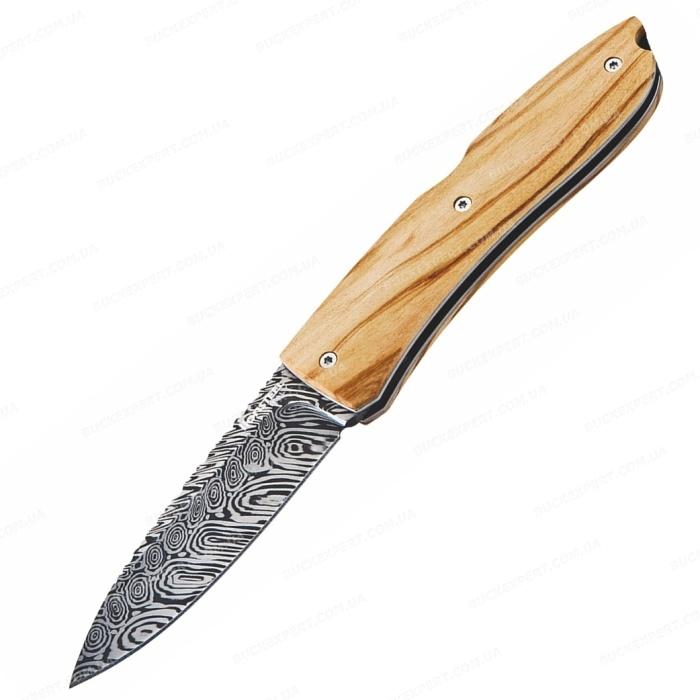 Нож LionSteel серии Opera Damascus лезвие 74 мм рукоять - оливковое дерево