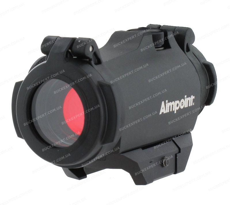 Коллиматорный прицел Aimpoint Micro H-2 с точкой 2 МОА и защитными крышками на Weaver / Picatinny