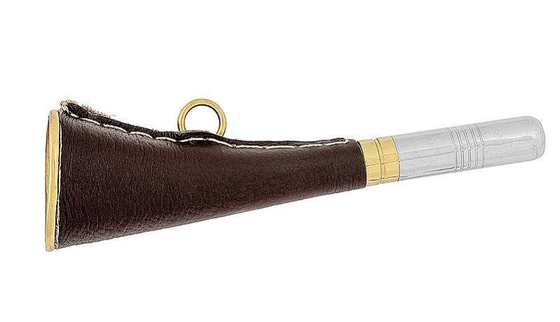 Горн охотничий латунный с кожанной отделой плоский длиной 16 см