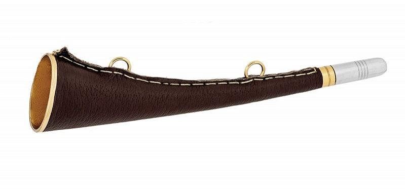 Горн охотничий латунный с кожанной отделкой плоский длиной 25 см