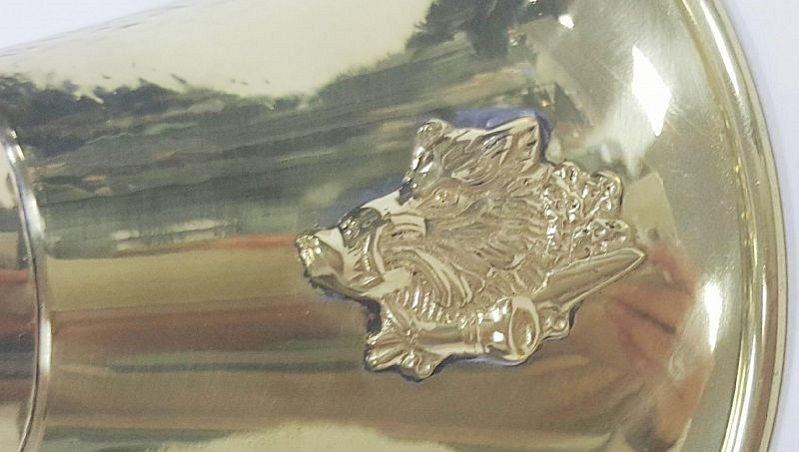 Горн охотничий латунный с кожаной отделкой круглый длиной 50 см
