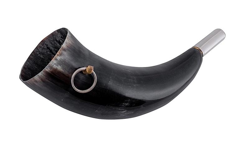 Горн охотничий из натурального рога длиной 25 см