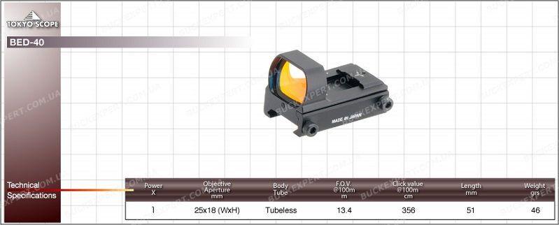 Коллиматорный прицел Hakko TS-40 с маркой точка 4 МОА на Wеаvеr автоматическая подсветка марки