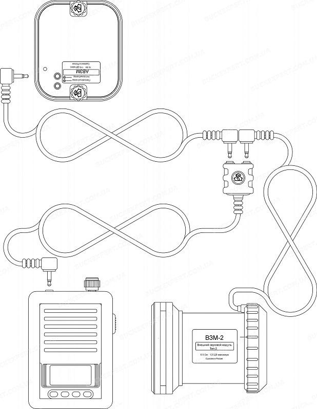 Кабель - разветвитель к электроманкам Егерь на 15 см для подключения двух динамиков