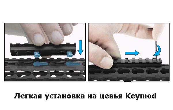 Планка Leapers UTG Picatinny на KeyMod из 4 слотов