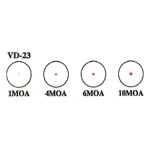 Коллиматорный прицел Hakko BED-5 VD-23 с точкой размером 1 / 4 / 6 / 10 МОА на Weaver