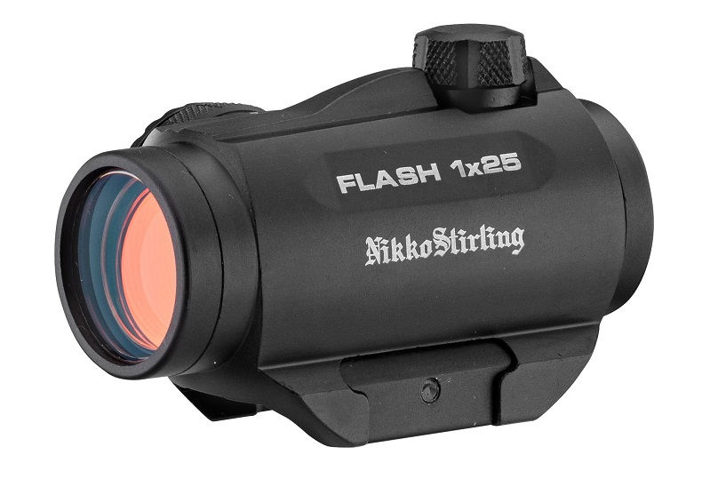 Прицел Nikko Stirling Flash 1x25 с точкой 3 МОА на Weaver коллиматорный с повышающей проставкой
