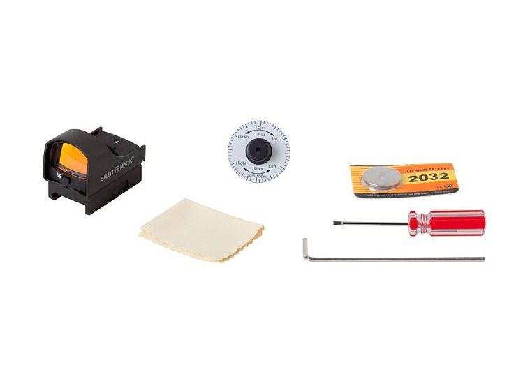 Коллиматорный прицел Sightmark Mini Shot на Weaver 5 уровней яркости подсветки точка 3 MOA красная или зеленая