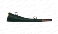 Горн охотничий латунный с кожанной отделкой плоский 25 см