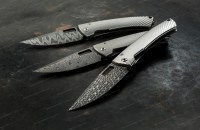 Нож LionSteel складной серии TS1 Damascus лезвие 85 мм рукоятка титан в тубусе